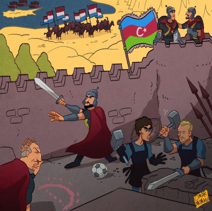 Карикатура от Омара Момани: Азербайджан готовится отразить атаку Люксембурга